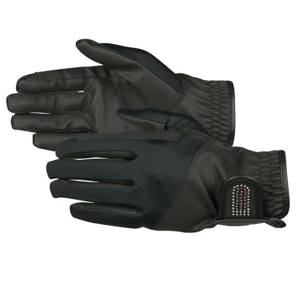 Horze - JUNIOR BLING PU-LEATHER GLOVES - 2 FARVER